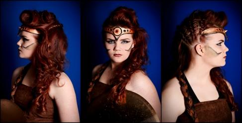 Female gladiator make-up and hair